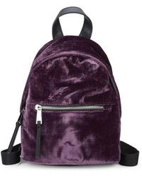 French Connection - Top Zip Mini Velvet Backpack - Lyst