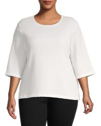 Eileen Fisher Women's Honeycomb Knit Top - Ivory - Size 1x (14-16) - White