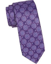 Canali Flower Medallion Silk Tie - Purple