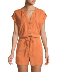 Sanctuary Drawstring Split Neck Romper - Orange