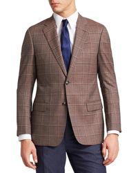 Emporio Armani Men's Tonal Windowpane Check Sportcoat - Rose - Size 52 (42) R - Brown
