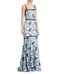 THEIA - Lace Tank Flare Gown - Lyst