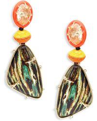 Alexis Bittar 10k Goldplated, Lucite, Wood Grain & Crystal Drop Earrings - Multicolour