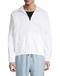Fila Men's Quarter-zip Logo Velour Jacket - Peacoat - Size S - White