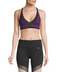 Body Language Women's Stella Strappy Sports Bra - Black Neon Pink - Size Xs