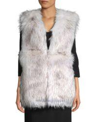 La Fiorentina - V-neck Faux Fur Vest - Lyst