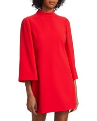 Alice + Olivia Bailey Bell-sleeve Shift Dress - Red