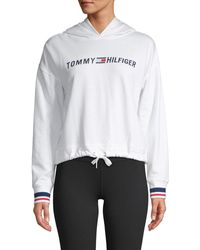 Tommy Hilfiger Cropped Logo Hoodie - White