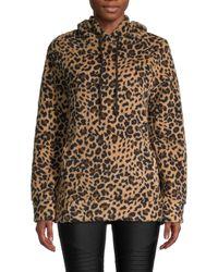 Marc New York Leopard-print Sherpa Hoodie - Brown