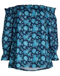 Ava & Aiden Women's Off-the-shoulder Floral Top - Navy - Size Xs - Blue