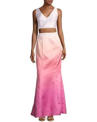 Laundry by Shelli Segal Ombre Cropped Top And Skirt Set - Pink