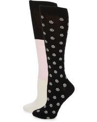 Kate Spade Two-pack Ditsy Knee-high Socks - Black