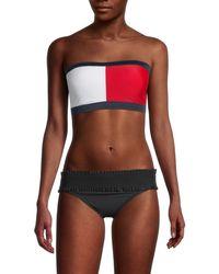 Tommy Hilfiger Women's Solid Logo Bandeau Bikini Top - Navy - Size M - Blue