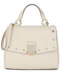 Jimmy Choo Lockett Leather Top Handle Bag - Natural