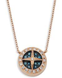 Effy 18k Rose Gold, Blue Diamond & White Diamond Pendant Necklace - Multicolour