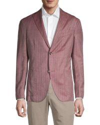 Boglioli Men's Standard-fit Striped Virgin-wool & Silk Jacket - Dusty Rose - Size 50 (40) - Multicolour