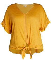 Max Studio - Women's Plus Knotted V-neck Top - Ivory - Size 1x (14-16) - Lyst