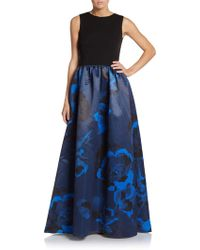 Aidan Mattox - Jersey-bodice Floral A-line Gown - Lyst