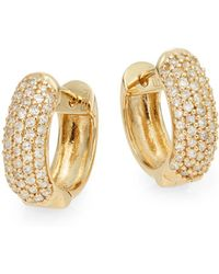 Effy - Diamond & 14k Yellow Gold Huggie Hoop Earrings - Lyst