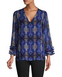 Calvin Klein Snakeskin-print Top - Blue