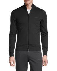 Armani Jeans Men's Embroidered-logo Stretch-cotton Sweatshirt - Black - Size L