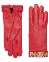 Moschino Leather Logo Gloves - Red