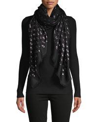 Valentino Garavani Star Cashmere, Silk & Wool-blend Scarf - Black