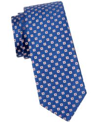 Canali Men's Geometric Silk Tie - Blue