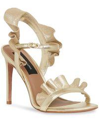 BCBGMAXAZRIA Women's Sabrina Leather Sandals - Gold - Size 10 - Metallic