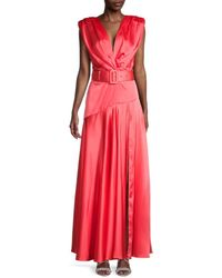 Bronx and Banco Women's Carmen Belted Satin Gown - Orange - Size S
