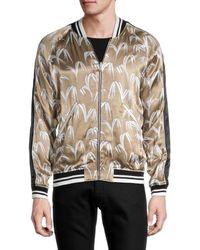 Sandro Men's Leaf-print Bomber Jacket - Blue - Size Xl