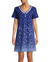 Carole Hochman Floral Short-sleeve Nightgown - Blue