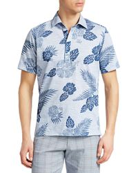 Saks Fifth Avenue Collection Printed Cotton Polo - Blue