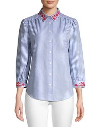 Draper James Embroidered Striped Button-down Shirt - Blue