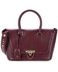 Valentino Garavani Women's Rockstud Convertible Leather Top Handle Bag - Berry - Purple