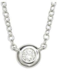 Saks Fifth Avenue 14k White Gold & Diamond Pendant Necklace - Metallic