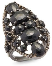 Bavna - 0.79 Tcw Diamond, Black Spinel & Sterling Silver Ring - Lyst