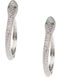 CZ by Kenneth Jay Lane Rhodium-plated & Crystal Snake Hoop Earrings - Multicolour