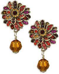Heidi Daus Crystal Fall Flower Drop Earrings - Multicolor