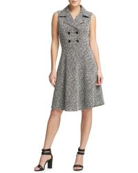 Donna Karan - Tweed Double Breasted Fit-&-flare Dress - Lyst