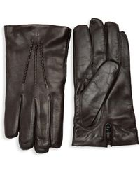 Saks Fifth Avenue Touch Tech Leather Gloves - Black