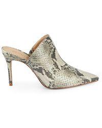 Schutz Women's Bardot Snakeskin-embossed Leather Mules - Natural - Size 5.5