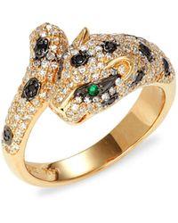 Effy 14k Yellow Gold, Emerald & Diamond Panther Ring - Metallic