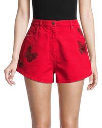 Valentino Butterfly Embellished Denim Shorts - Red