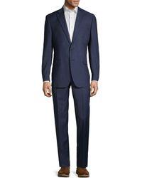 Saks Fifth Avenue Classic-fit Plaid Wool Suit - Blue