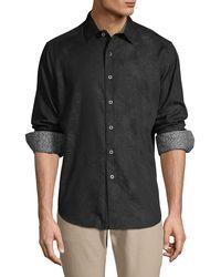 Robert Graham Palm-print Long-sleeve Shirt - Black