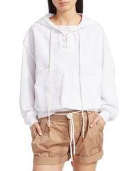 FRAME Women's Lace-up Hooded Sweatshirt - Blanc - Size S - White