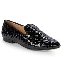 Ava & Aiden Woven Patent Leather Loafers - Brown