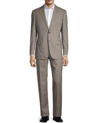 Armani Men's G-line Fit Check Virgin-wool Suit - Grey - Size 52 (42) R