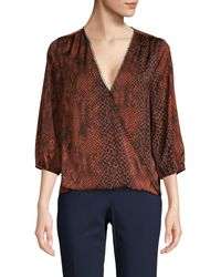 Ava & Aiden Printed Wrap Top - Brown